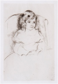 sara smiling; the manicure; margot wearing a bonnet - no. 3 (3 works) by mary cassatt