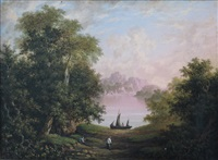 fishermen sorting nets in a wooded glade (+ another; pair) by charlotte nasmyth