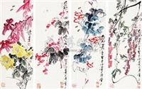 花卉 (in 4 parts) by qi liangzhi