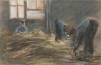 rohrflechter (les vanniers) by max liebermann