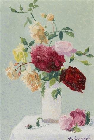 bouquet de roses dans un vase by achille laugé
