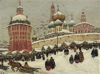 market at the troice-sergieva lavra, sergeyev posad by vladimir nikolaevitch aralov