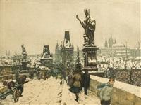 der hradschin von der karlsbrücke aus im winter by t. frantisek simon