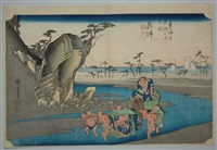 oban yoko-e, série de la grande tokaido, station 18, la rivière okitsu by ando hiroshige