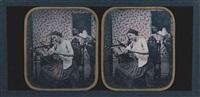 le voyeur : femme au métier à tisser, seins nus, observée par un homme à la fenêtre by joseph auguste belloc