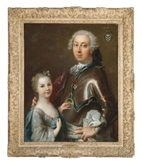 double portrait of a gentleman in armor wearing the order of saint nicholas the wonderworker, and his daughter in a light blue dress by louis tocqué