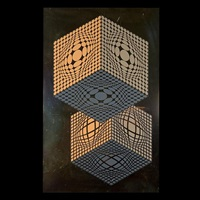 untitled - gold with cubes; untitled - colorful blocks (2 works) by victor vasarely