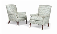 armchairs (pair) by howard & sons