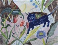 frühling im garten mit blauer katze by elisabeth ahnert