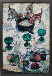still life with three puppies, after gauguin (from pictures of magazines) by vik muniz