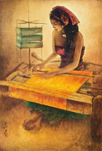 balinese weaver by lee man fong