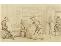 visitors entering a library by thomas rowlandson