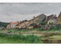paysage au bord de la rivière by adrien jacques sauzay