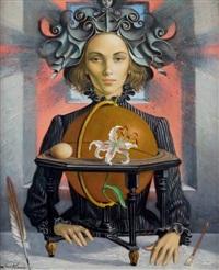 portrait de femme au lys by jean-pierre alaux