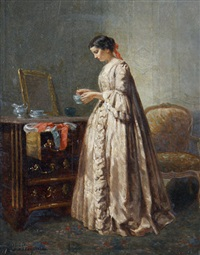 a lady in a bedroom interior by paul seignac
