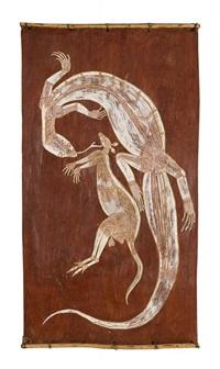 untitled (kangaroo and goanna) by lofty narbardayal nadjamerrek