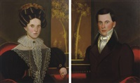 pair of portraits of a lady and a gentleman: possibly martha (coggswell) and franklin colburn by john sherburne blunt