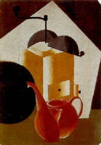 composition with coffee-grinder and coffee-pot by alexander vesnin
