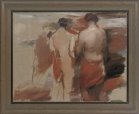 landscape with figures, women of troy (study) by barry atherton