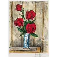 quatre roses dans un vase de delft by bernard buffet