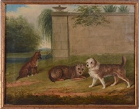 terriers in a park by james (of bath) loder