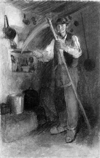 an old peasant in an interior, sharpening his scythe by charles edmond theodore milcendeau