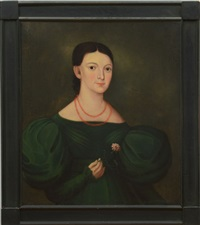 portrait of a woman in a green dress by american school