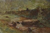 paysage au pêcheur by gustave eugène castan
