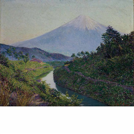fuji from fujiyama canal iwahichi by lilla cabot perry