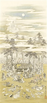 untitled (the death of the historical buddha (nehanzu), showing numerous lay persons, monks, deities, and beasts gathering in lamentation around the dais) by kano akinobu