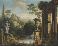 an arcadian river landscape with soldiers resting among classical ruins by john wootton