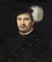 bildnis eines mannes mit federhut by nicolo dell' abbate
