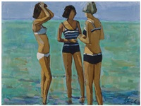 cagnes (three bathers) by shirl goedike