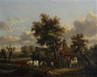 drover with cattle (pair) by henry milbourne