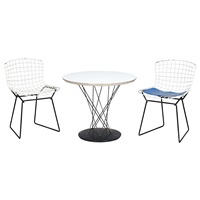 child's table, model 87, and two chairs, designed, for knoll associates by harry bertoia and isamu noguchi