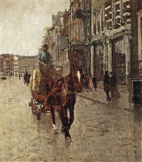 rokin westzijde: a horsedrawn cart on the rokin, amsterdam by george hendrik breitner