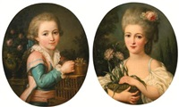 portrait of a young girl holding a flower pot; portrait of a young boy feeding two birds (2 works) by marie-victoire lemoine