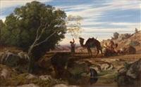 la halte de la caravane dans l'oasis by prosper georges antoine marilhat