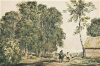 two travellers on the road to market by david cox the elder