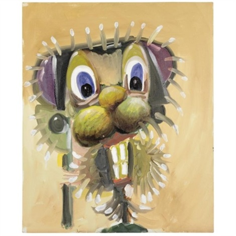 head with spiky hair by george condo