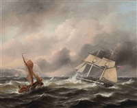 two boats in stormy weather, the shore in the distance by govert van emmerik