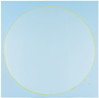 untitled circle painting: light blue, green, light blue by ian davenport