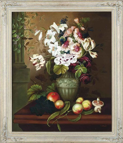 tulips, lilies, roses and pansies on a ledge with mushrooms, grapes and peaches by edwin steele