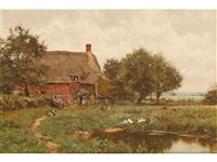 a cottage beside a pond with chickens and ducks by edward wilkins waite