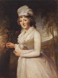 portrait of a lady standing in a landscape and wearing a white dress and bonnet by robert home