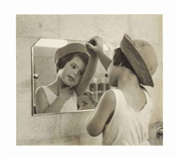 tirza looking into the mirror with little boy, tel aviv by ruth orkin