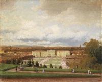 blick von der gloriette auf schloss schönbrunn mit reicher figürlicher staffage by heinrich tomec