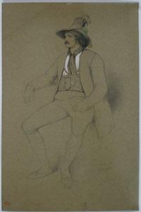 sitzender junger mann in zillertaler tracht by théodore valerio