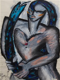 abstract woman with a snake by elvira bach