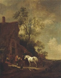 peasants watering horses before an inn by philips wouwerman